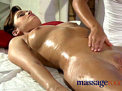 Massage Rooms innate enormous tits are well-lubed and massaged as foreplay to a fuck