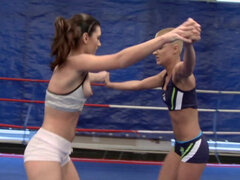 Betty Saint and Sinead wrestling ends with fingering