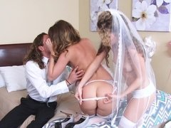 Lovely bride is having a steamy threesome