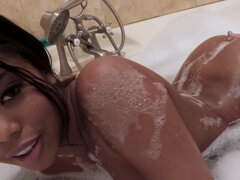 Sexy ebony Nia Nacci gets boned in the bathroom