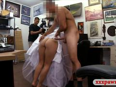 Pretty blonde babe in wedding dress nailed by pawn man