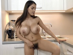 Mischel Lee strips in kitchen and masturbates too