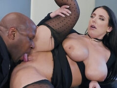 Naughty office lady Angela White gets fucked by a black hunk