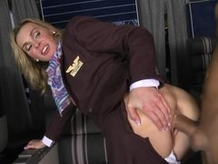 Flight attendants are doing their job properly