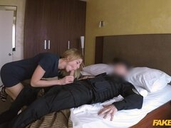 A big dicked cop fucks a pretty lady at a motel while on duty.
