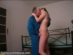 Mature lecherous man loves kissing touching