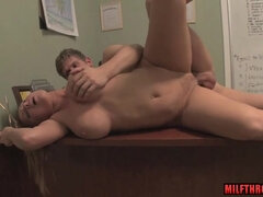 Office sex with big titted mommy