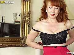 huge-titted red-haired finger fucks wet pussy in nylons girdle stilettos