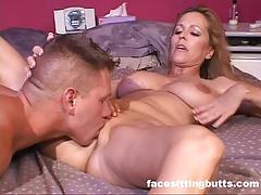Natural tit mommy enjoys dick a little bit too much