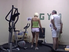 grandpa gym drill - blonde with perky tits driller by older fat guy