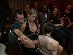 Youthful Sensi Pearl gets bound up and besides fucked in public