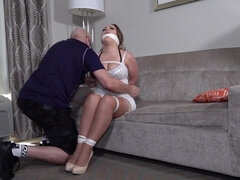 Curvy milf tied up, gagged and humiliated - tits in bondage