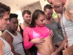 Cute latina Gia Derza participate in intense blowbang action