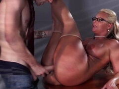 Curvy secretary needs a big cock in her tight vagina right now