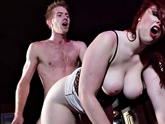 Redhead Jaye Rose uses her tits to get the job