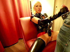 latex glove blow-job on the couch