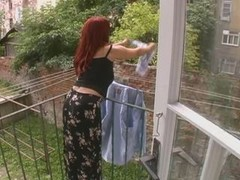 Sexy Old Wife Attacked While Hanging Laundry - Cireman