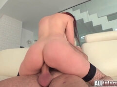 Tall chick mira's pussy is banged and crammed with jizz