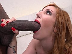 Redhead model and a monstrous dick