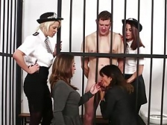 CFNM police gals dominate naked prisoner