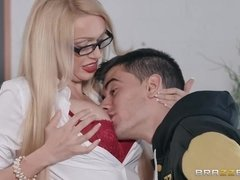 Amazingly sexy teacher with hot boobs Amber Jayne enjoys hardcore with student