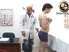 The doctor measures George's small uncut cock