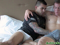 tattooed first-timer soldiers assfucking after oral