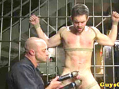 bdsm sub restricted in cell and jacked by cop