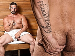Steamy sauna fucking with hairy Jaxton Wheeler and Rikk York