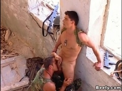 Two muscular studs enjoy fantastic banging in the abandoned building
