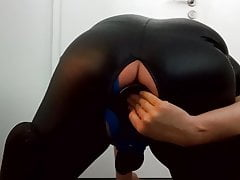 Young boy fucking a giant buttplug