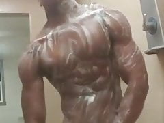 Perfect black muscle shower jerking off cum