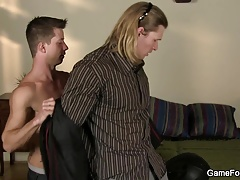 Strong man doggy-fucks slut boy