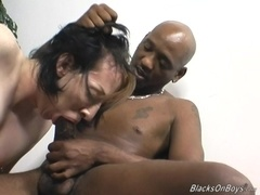 Feminine gay gets his ass pounded hard by a black hunk