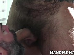 Hairy daddy is all about rough raw pounding his partner