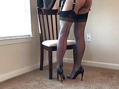 Grey Stockings & Heels
