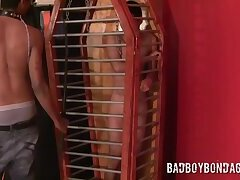 Black top whipping torment twink in cage and softcore BDSM bondage