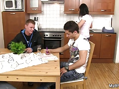 Her hunky boyfriend gets fucked on the table