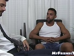 Gay black amateur wanks off while a business man licks his feet