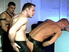 3 way homosexual in leather + cum shot