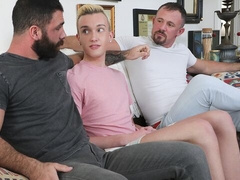 Stepdad + neighbor (Jake Nicola and Jesse Zeppelin) gay threesome for Ryan Evans