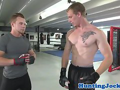 Ripped jock assfucked by trainer
