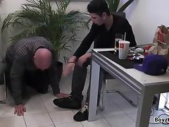 White dude foot slave