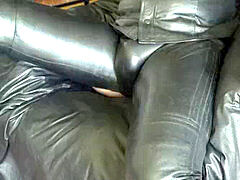 stroking off in total leather