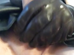 Black leather dress, wanking with gloves till i cum
