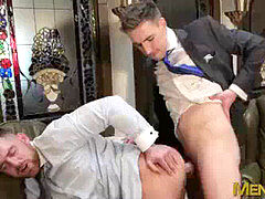 Rimmed queer in suit assfuck pummeled by his handsome boss