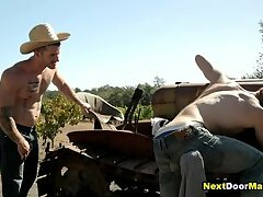 Redneck gay jock fucks straight farmer's virgin ass