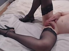 cock stockings heels cum
