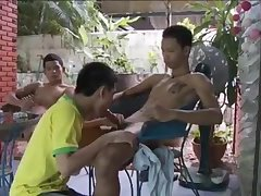 Thai Boy Threesome in their house