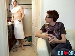 Hot twink geek stuffed with stepbrothers raw dick